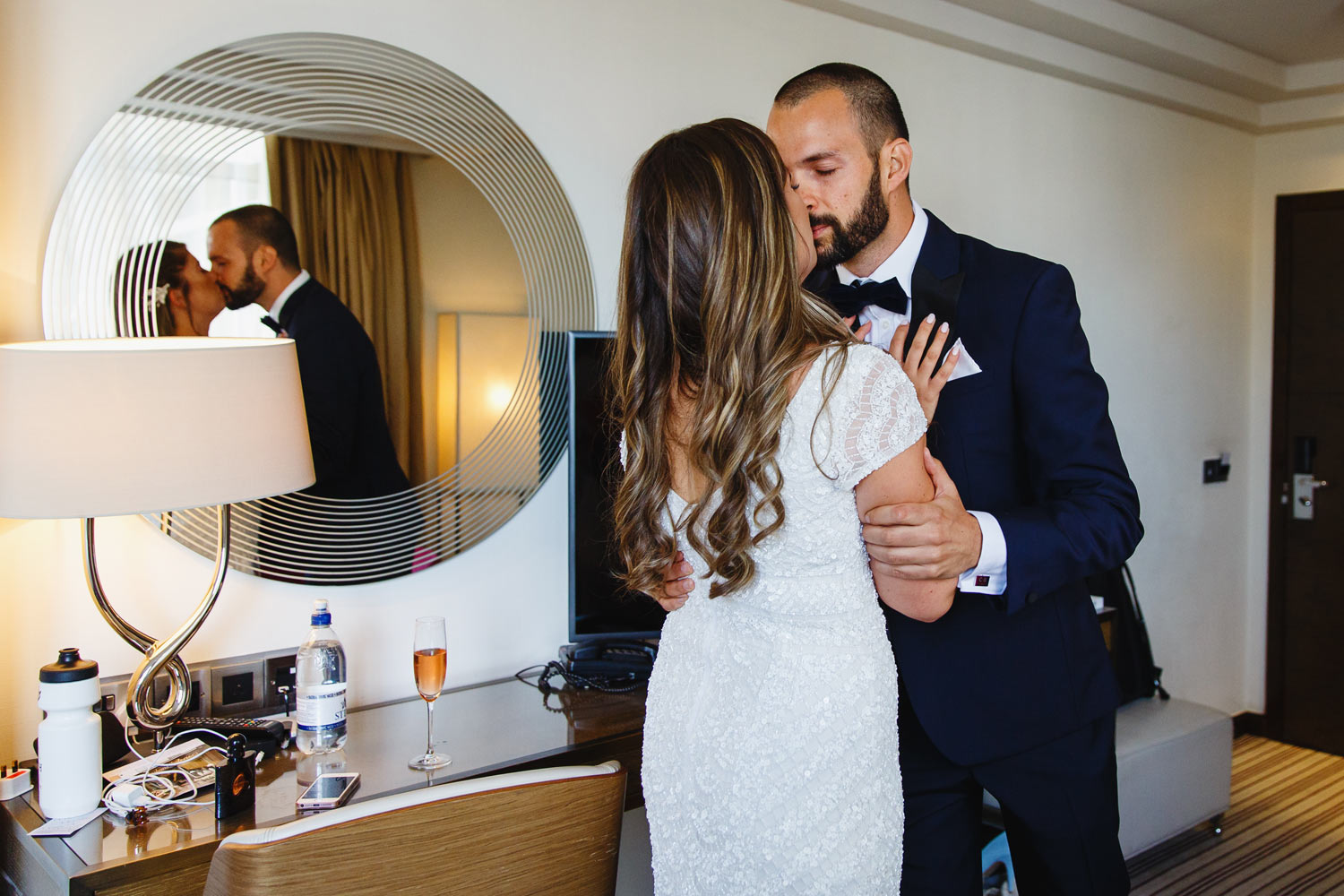 A groom sees his bride for the first time at The Marylebone Hotel - London wedding photographer