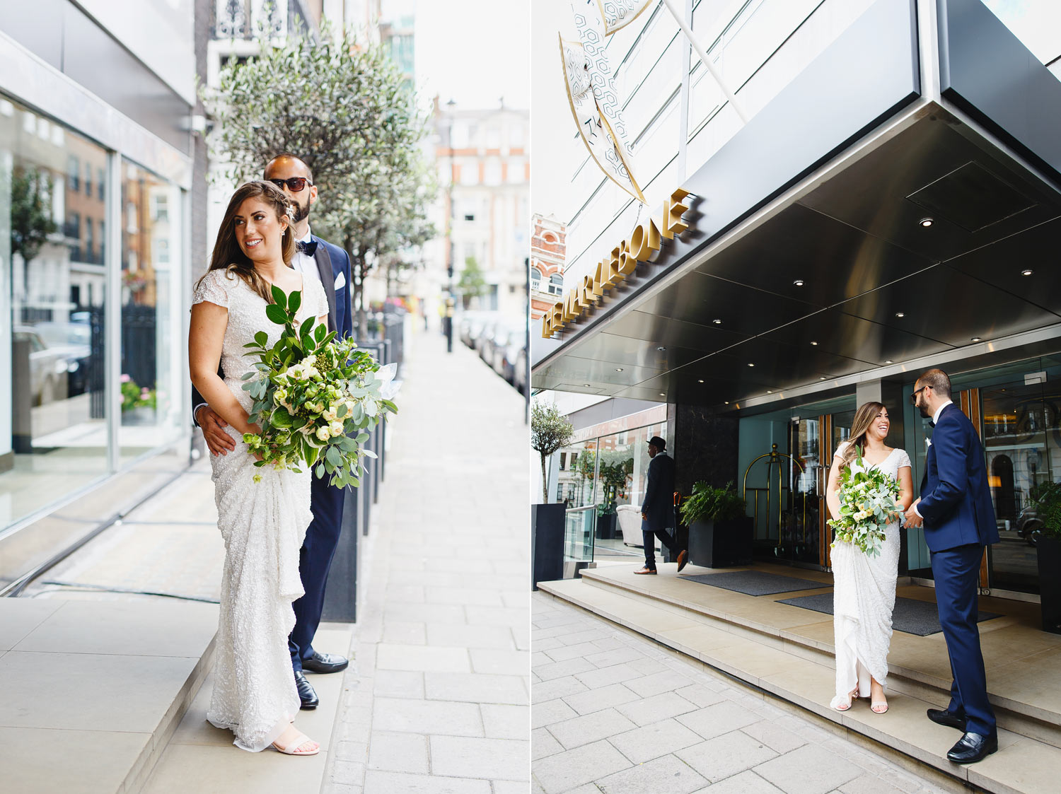A couple wait for a taxi outside The Marylebone Hotel - London wedding photographer