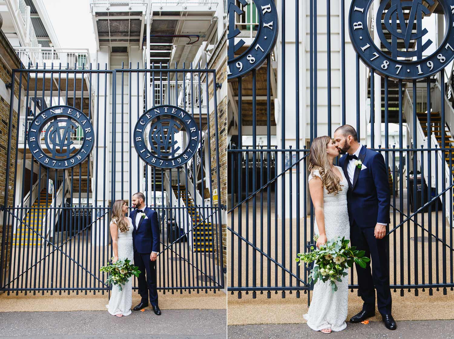 A wedding couple pose outside the Lord's Cricket Ground after their wedding at Asia House in London.