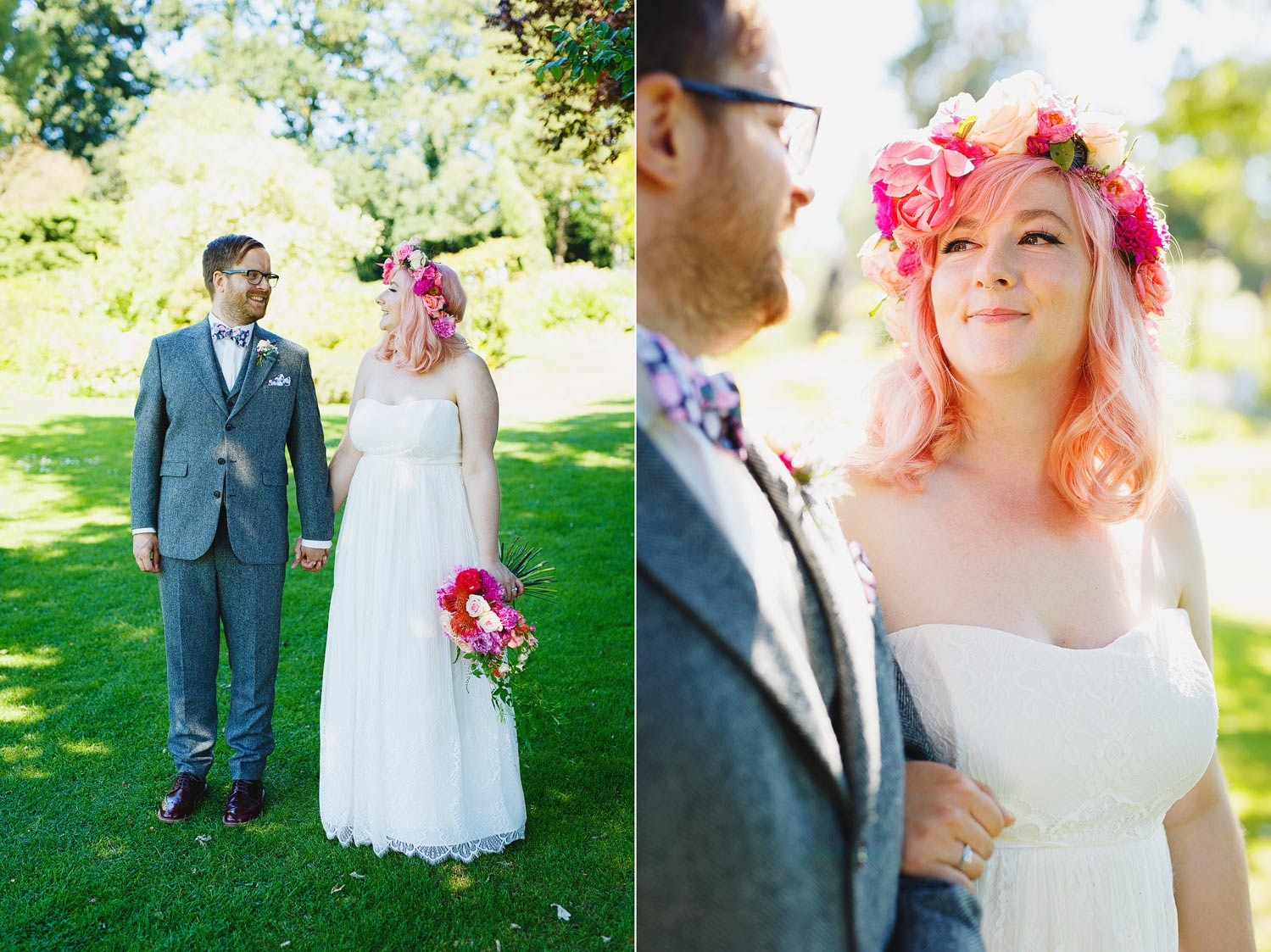 Pink haired bride and her dapper groom