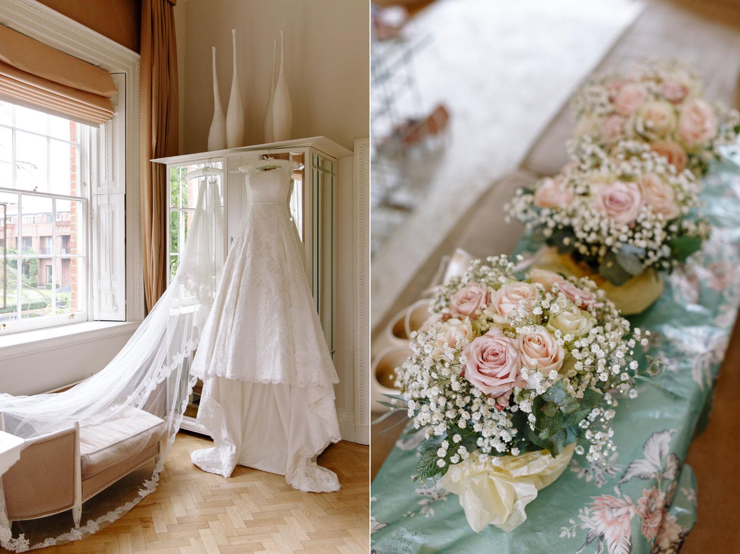 A bride's dress hangs in the window