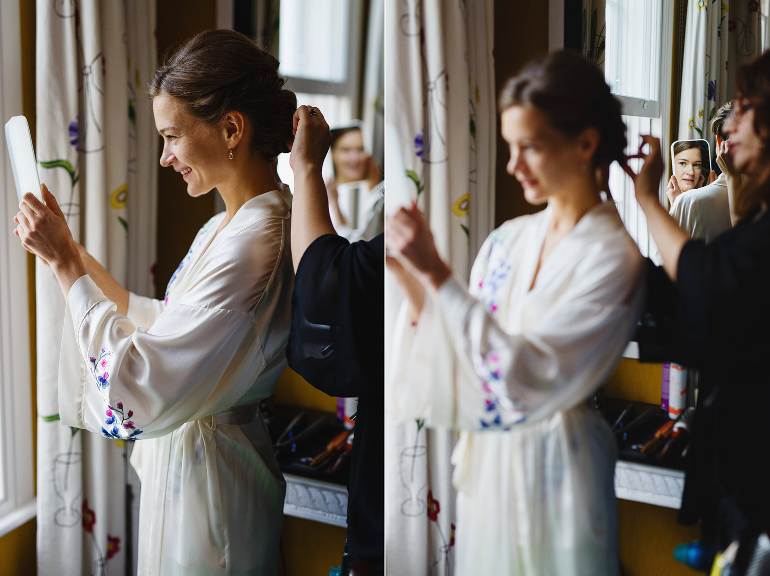 A bride looks at herself in the mirror at Dorset Square Hotel - London wedding photographer