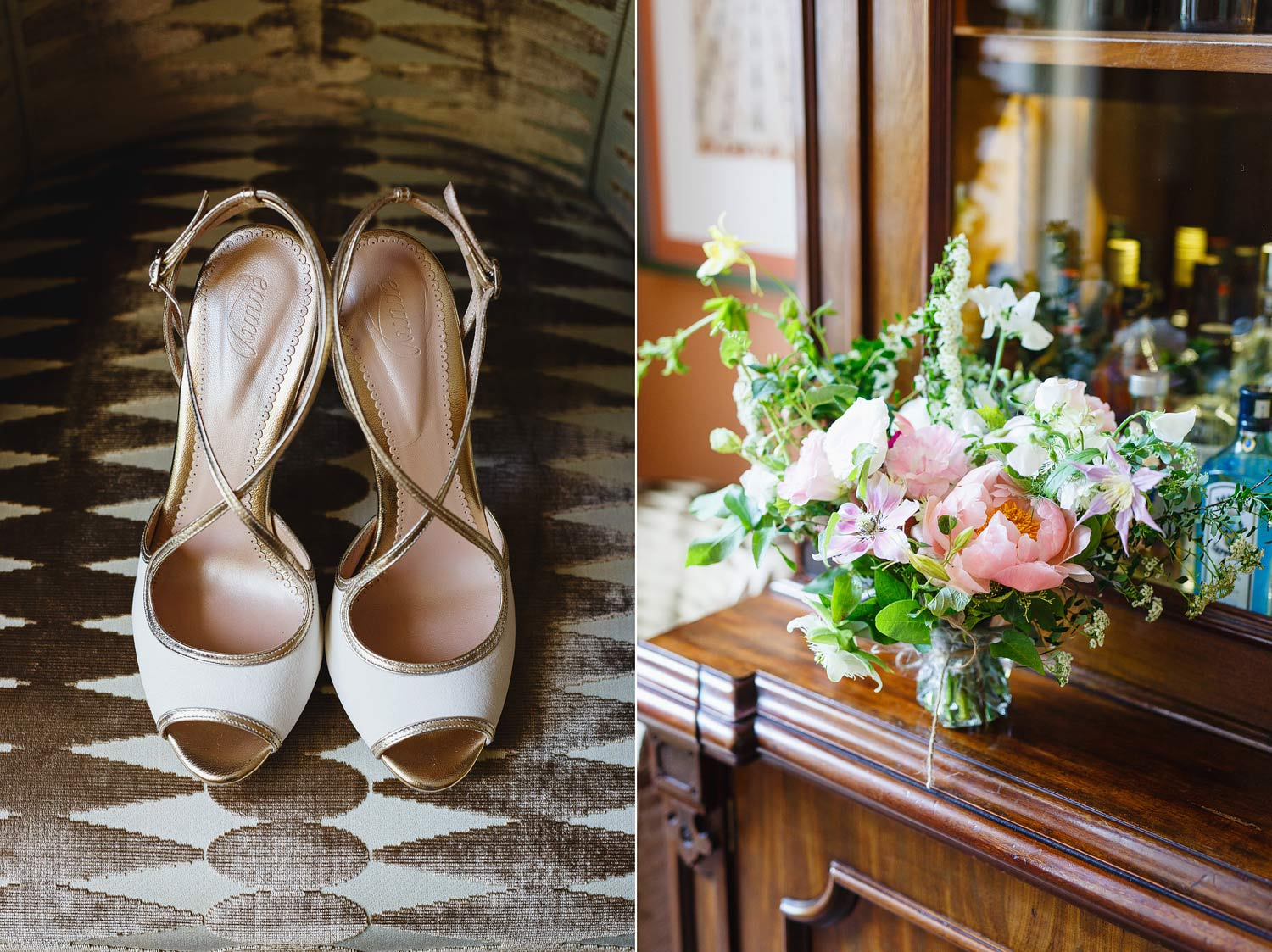 Emmy Shoes and a bouquet at Dorset Square Hotel - London wedding photographer