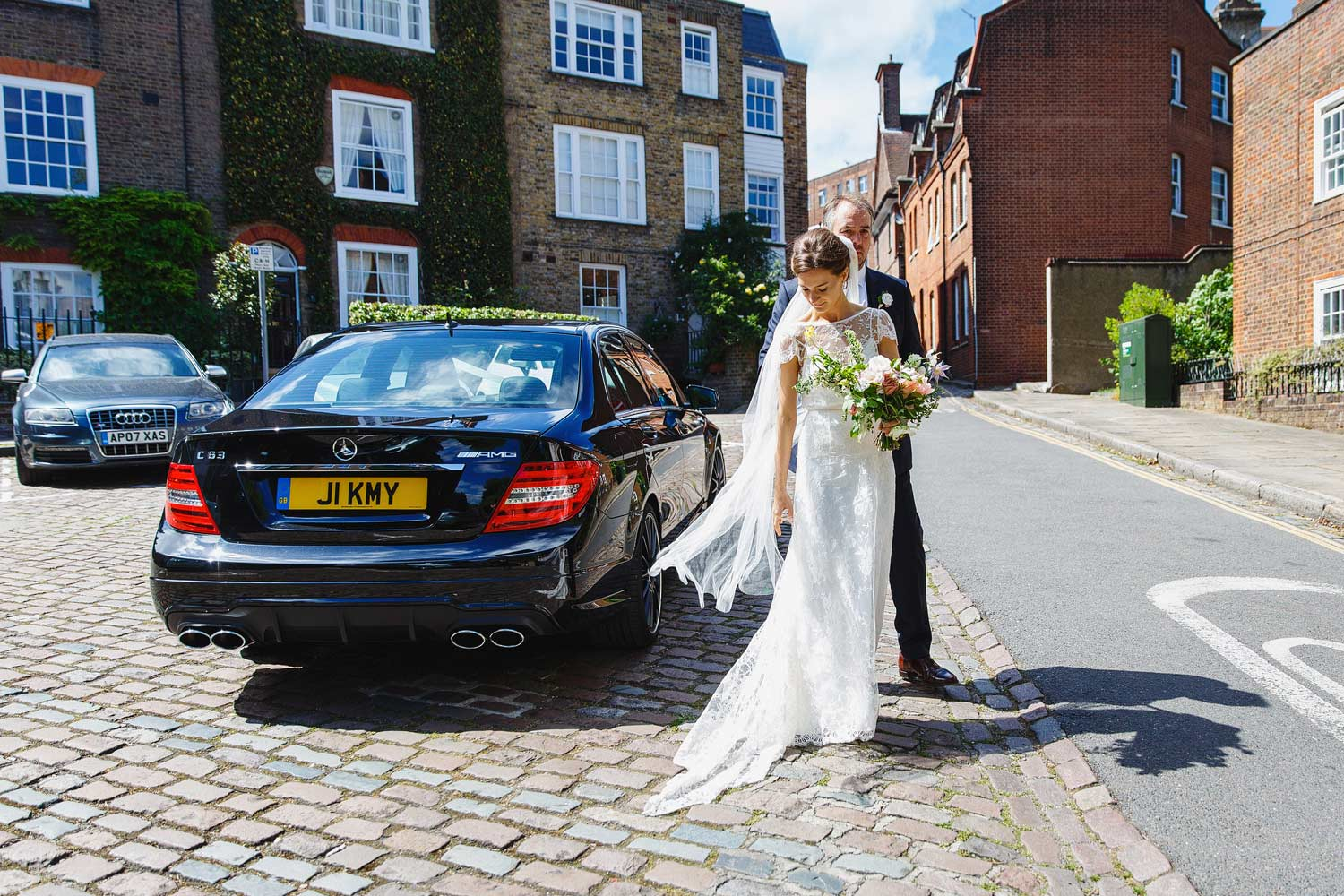 A bride arrives at Burgh House Museum - London wedding photographer