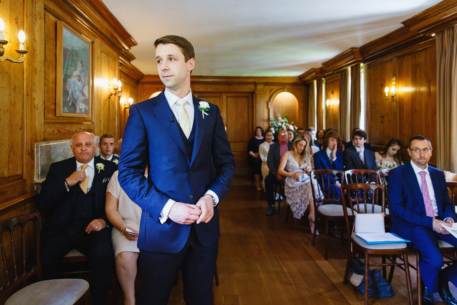 a groom waits for his bride at Burgh House Museum - London wedding photographer