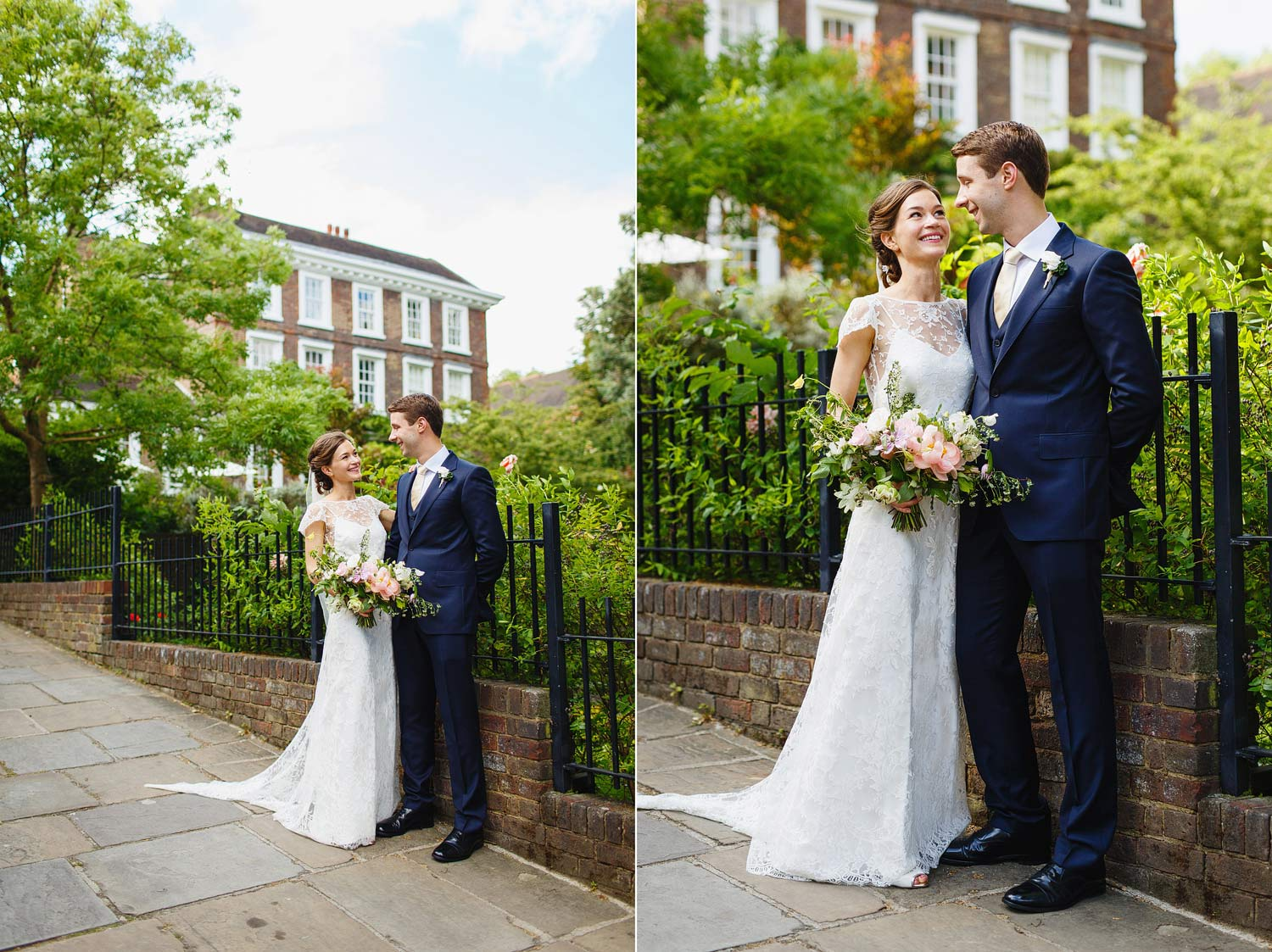 Bride and groom portrait at Burgh House Museum - London wedding photographer