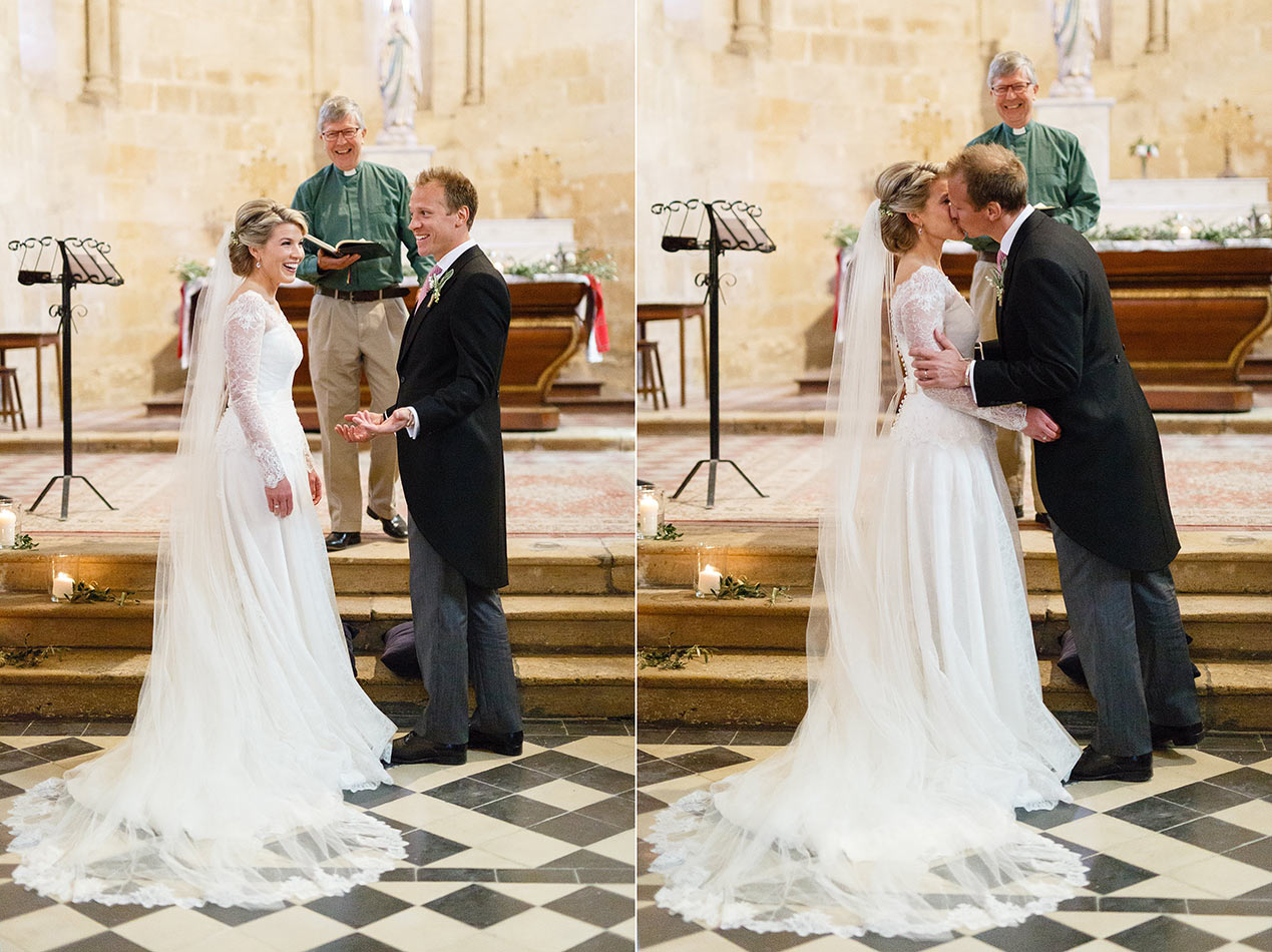 The bride and groom in the church at their Chateau Rigaud wedding in France - French wedding photographer