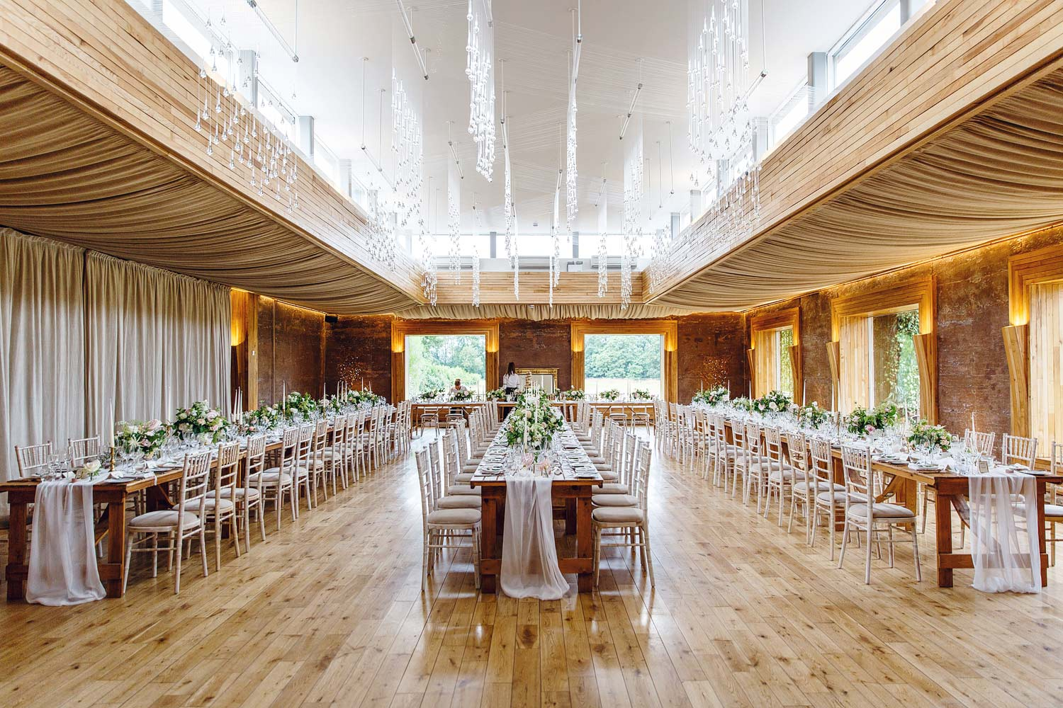 Elmore Court barn set up for a wedding