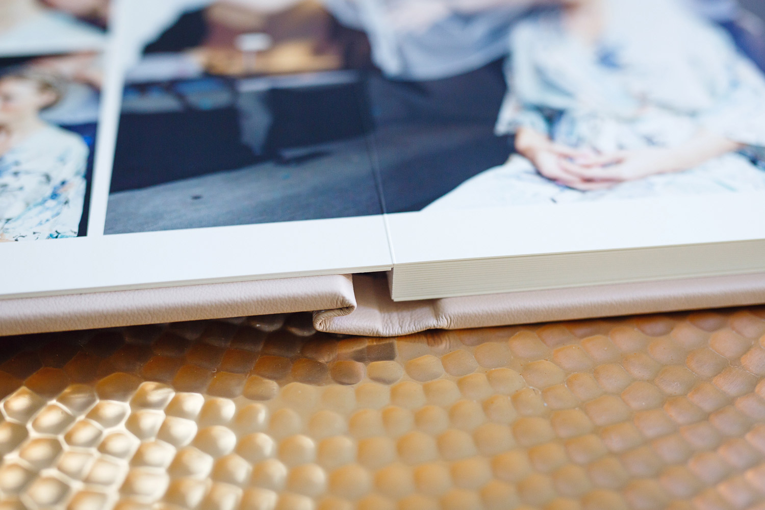 A gorgeous blush pink Folio leather wedding album - London wedding photographer