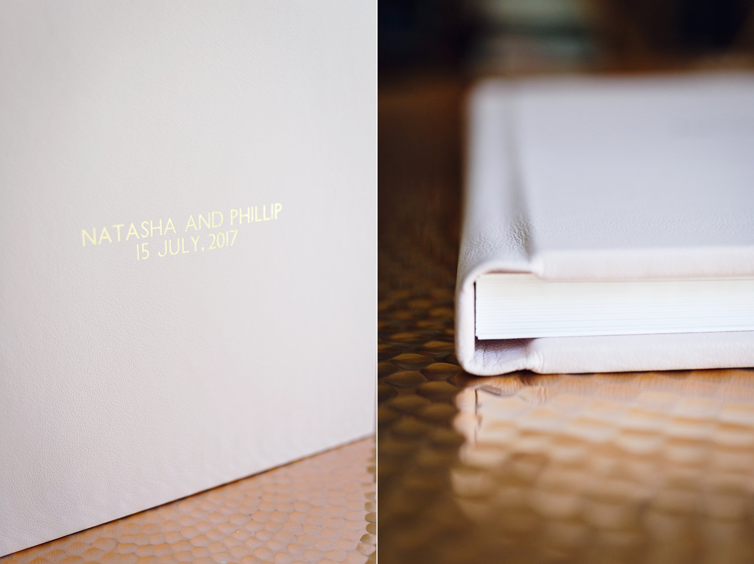 A gorgeous blush pink Folio leather wedding album with gold lettering - London wedding photographer