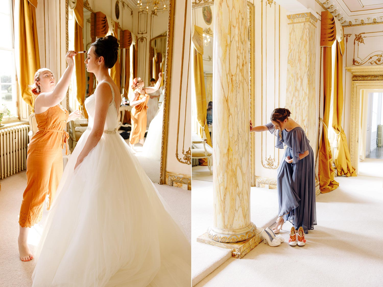 The sumptuous bridal prep room at Gosfield Hall