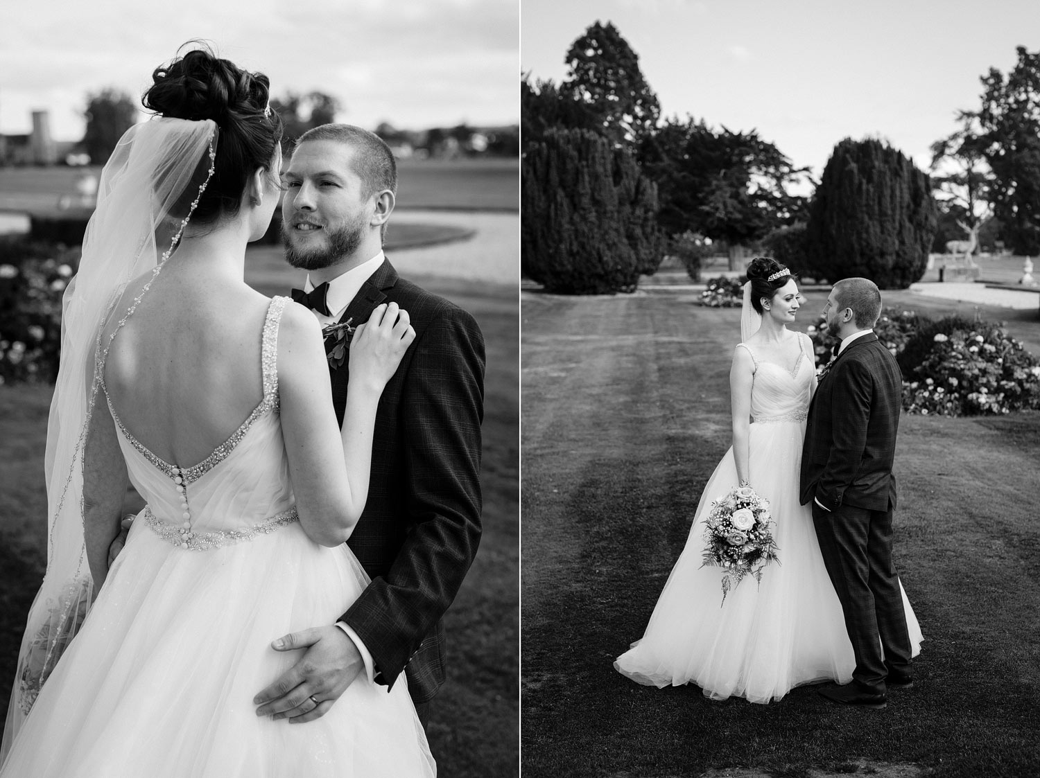 A black and white photo of a newly married couple at Gosfield Hall