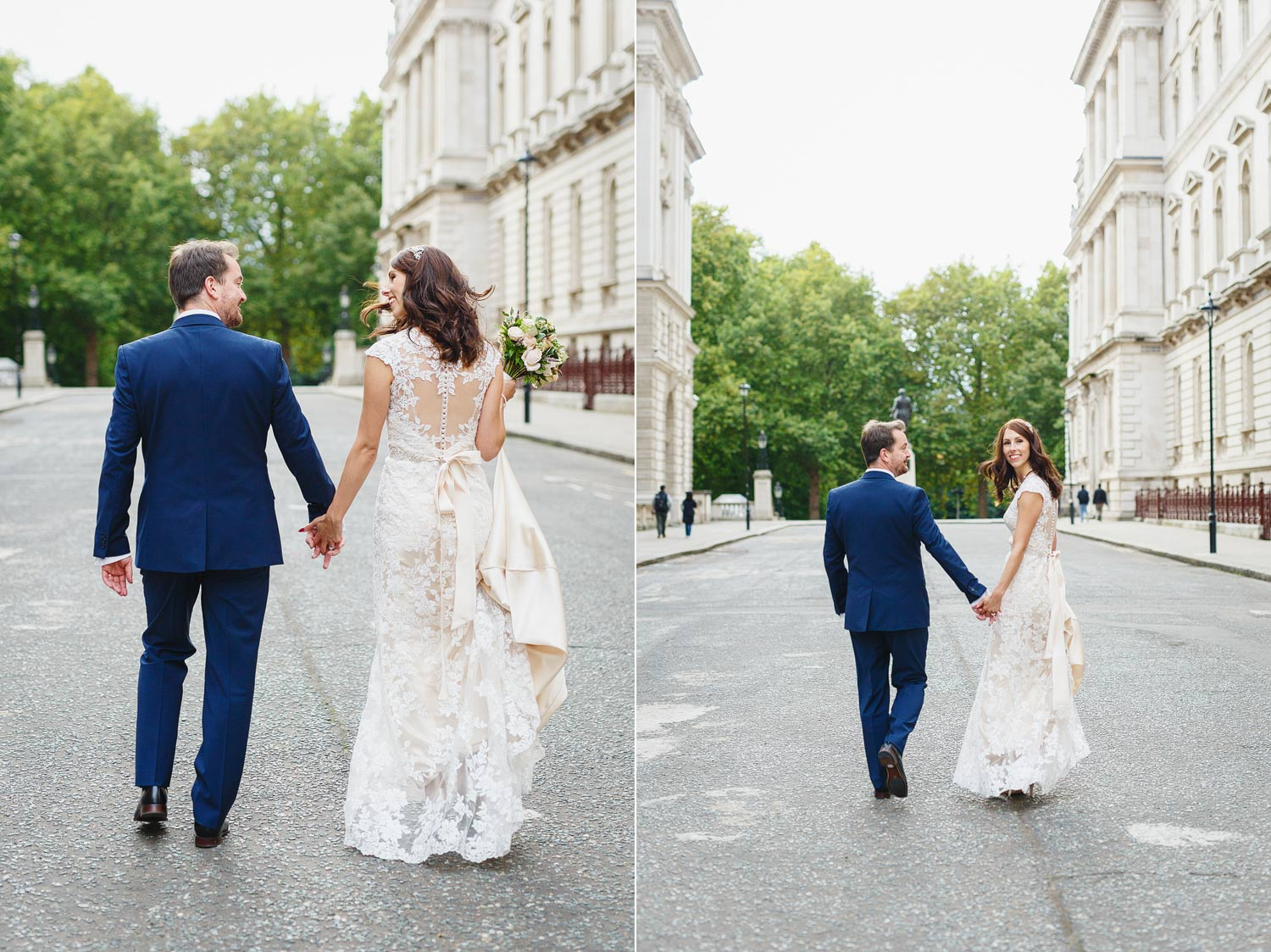 A couple get married at the House of Commonsand then walk down past the Foreign Office - London wedding photographer
