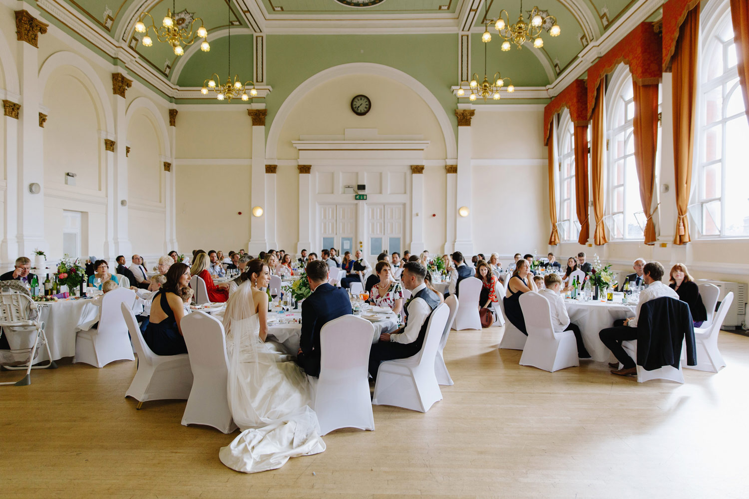 A wedding reception at Leyton Great Hall in East London.