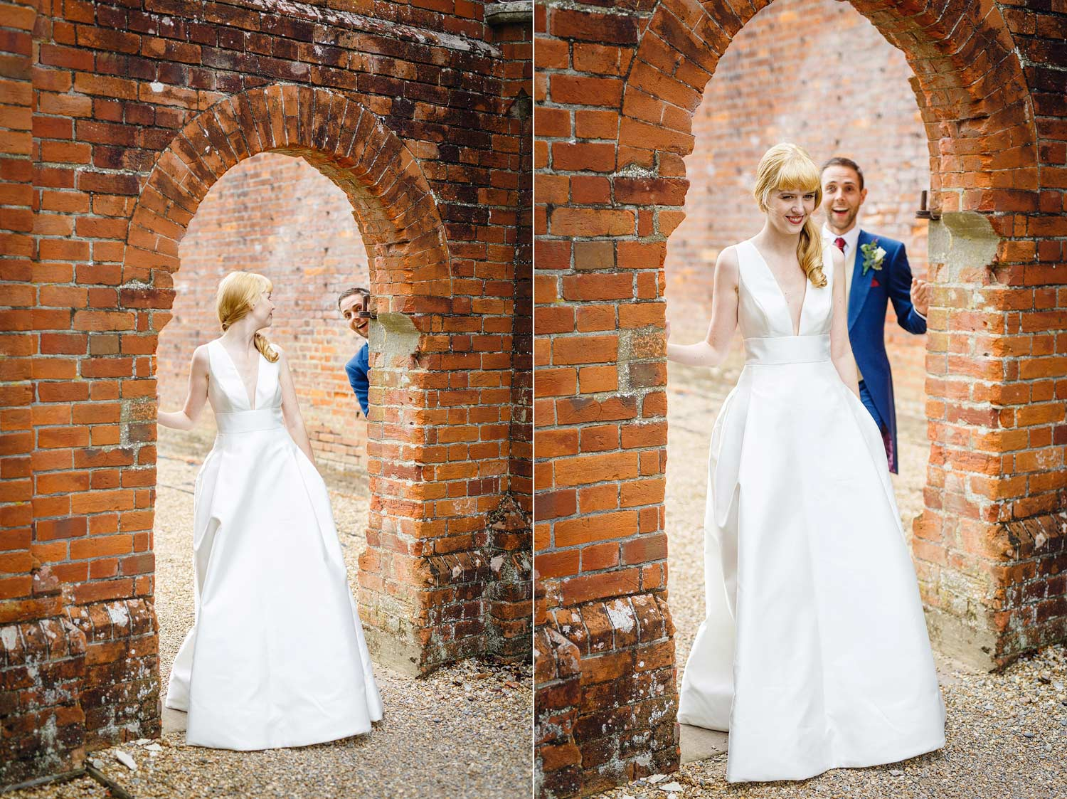 Bride and groom at their wedding at the Elvetham HOtel