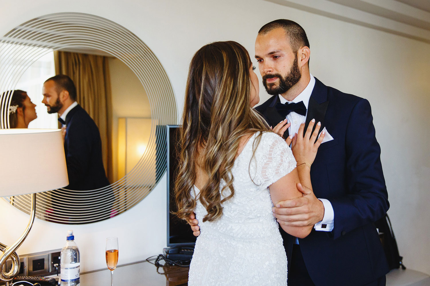 Groom sees his bride for the first time before the wedding at the Old Marylebone Town Hall - London wedding photographer