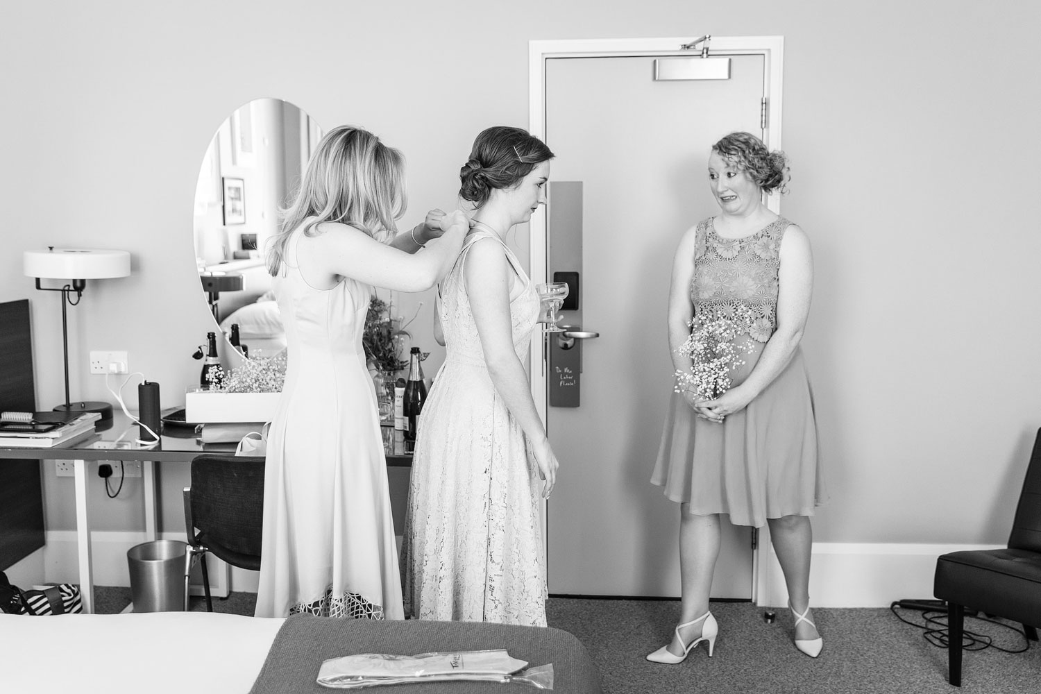 bridal preparation before a wedding at the Laslett Hotel in Notting Hill Gate - London wedding photographer