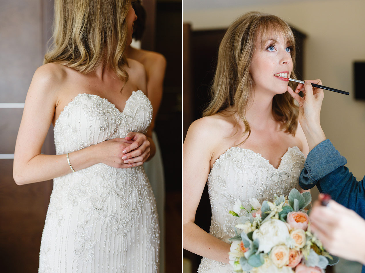 The bride has her make up done at her Northbrook Park wedding - London wedding photographer