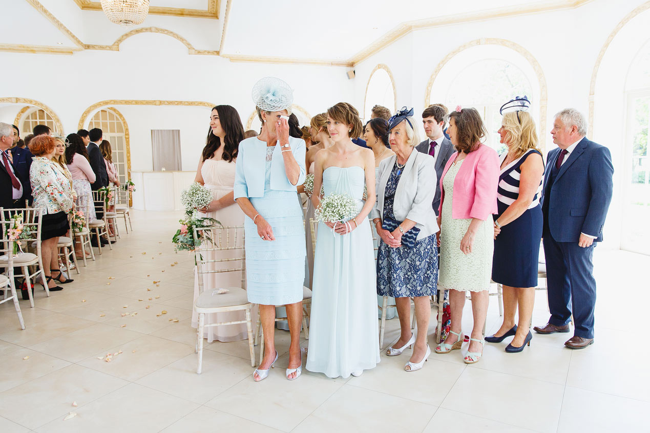 Tears from the mother of the bride at a Northbrook Park wedding - London wedding photographer