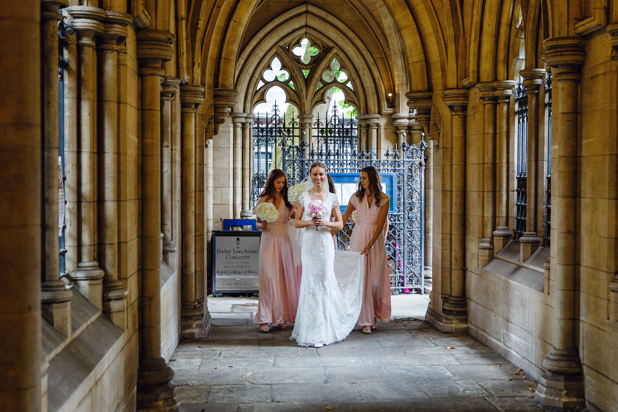 A bride arrives at the St Mary Abbots church in Kensington, London.