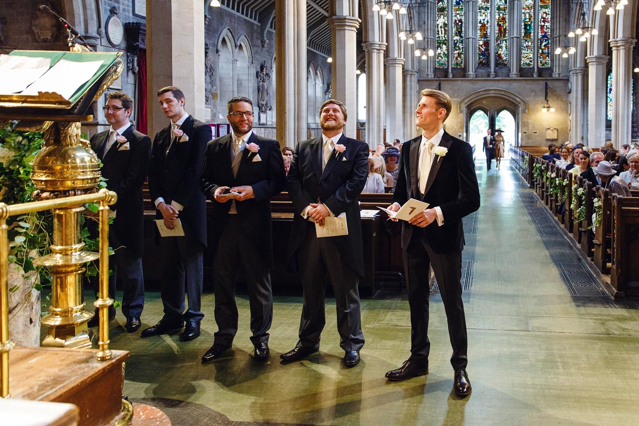 A groom waits at the aisle at the St Mary Abbots church in Kensington London.
