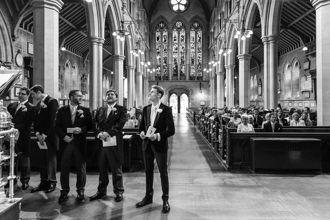 A groom waits at the St Mary Abbots church in Kensington London.