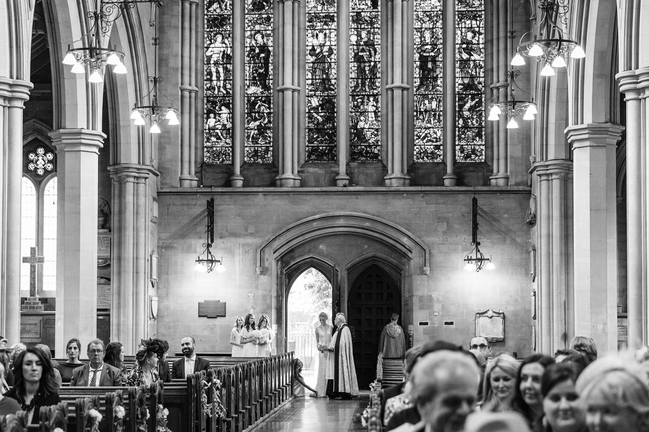 A bride arrives at the St Mary Abbots church in Kensington London.