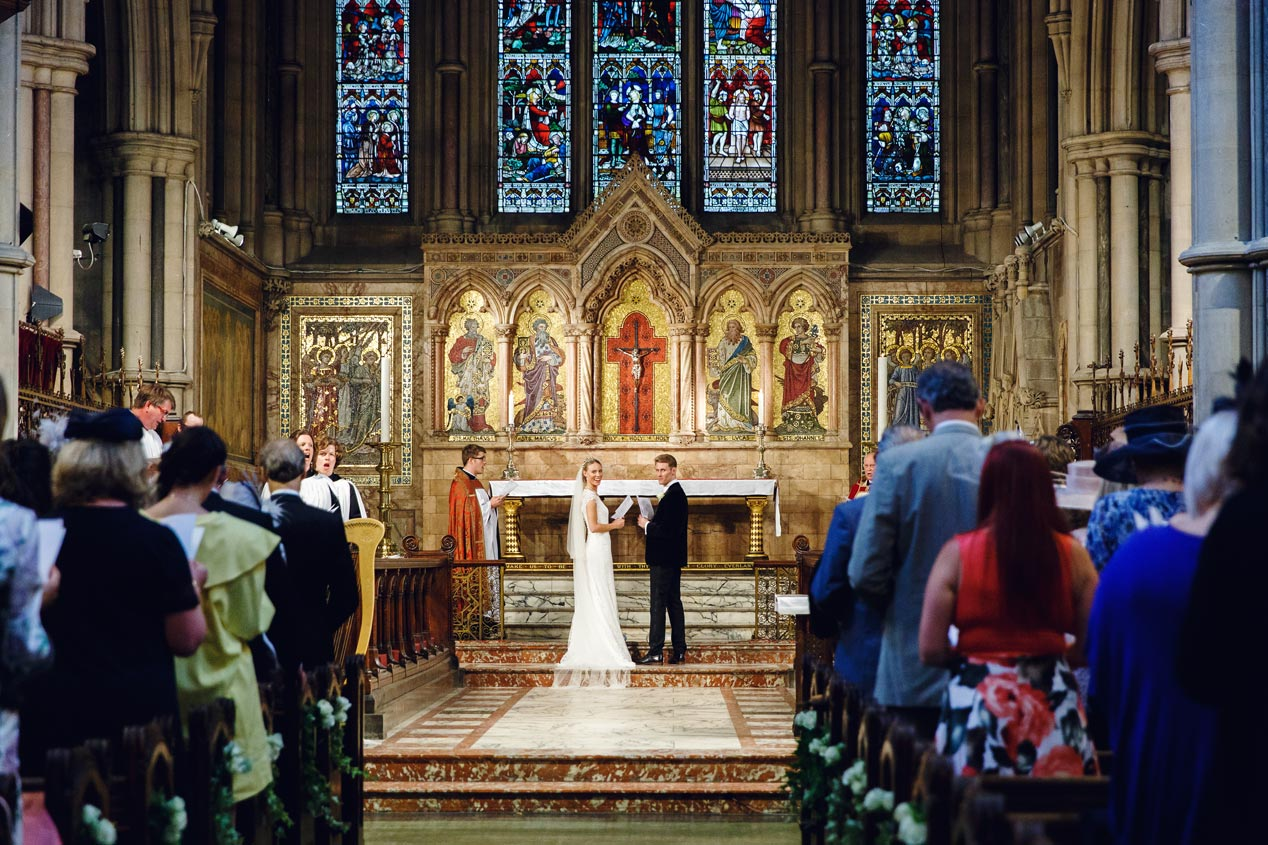 A wedding ceremony at the St Mary Abbots church in Kensington London.