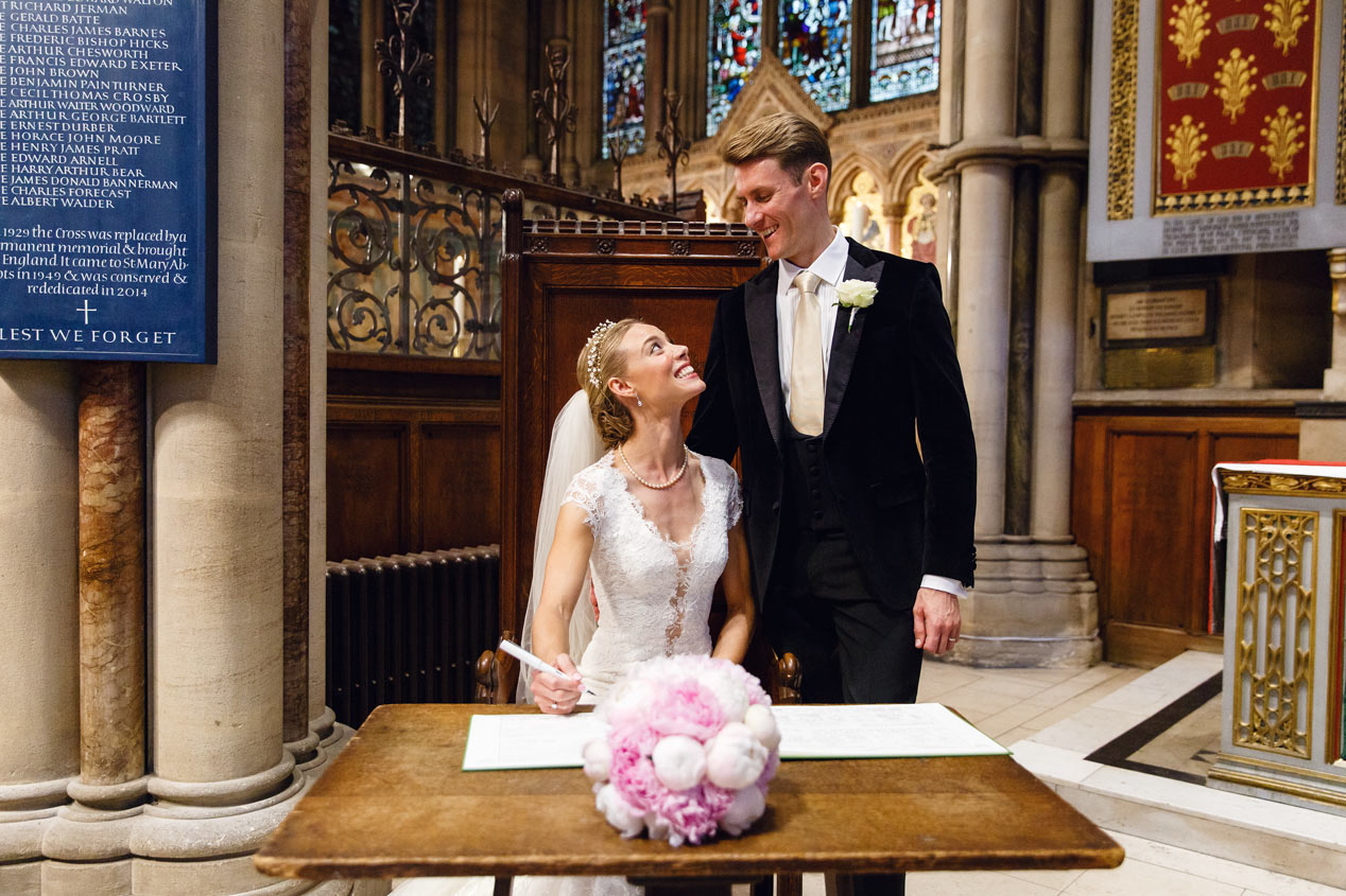 A wedding ceremony at the St Mary Abbots church in Kensington London