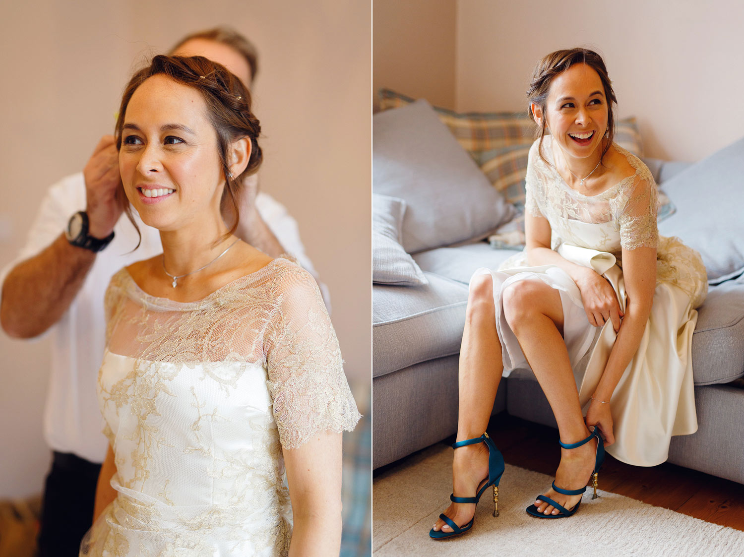A bride puts on her Kurt Geiger bridal shoes