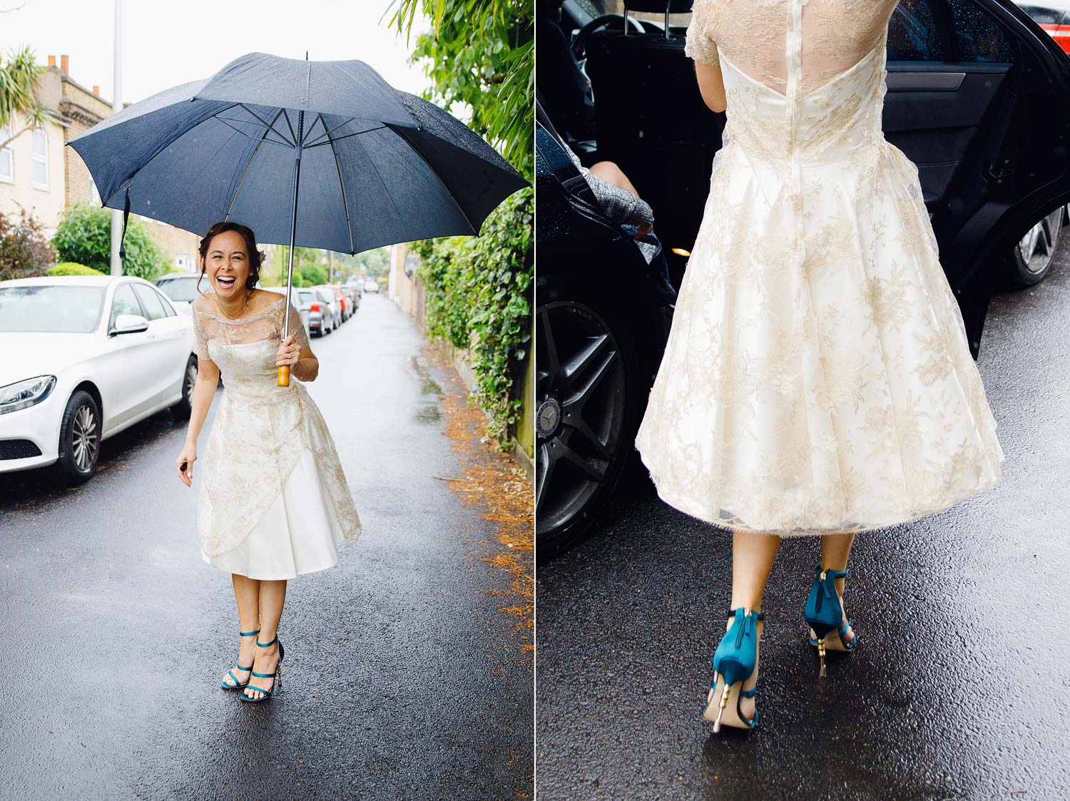 A bride laughs as she gets into the car in the rain wearing teal Kurt Geiger shoes