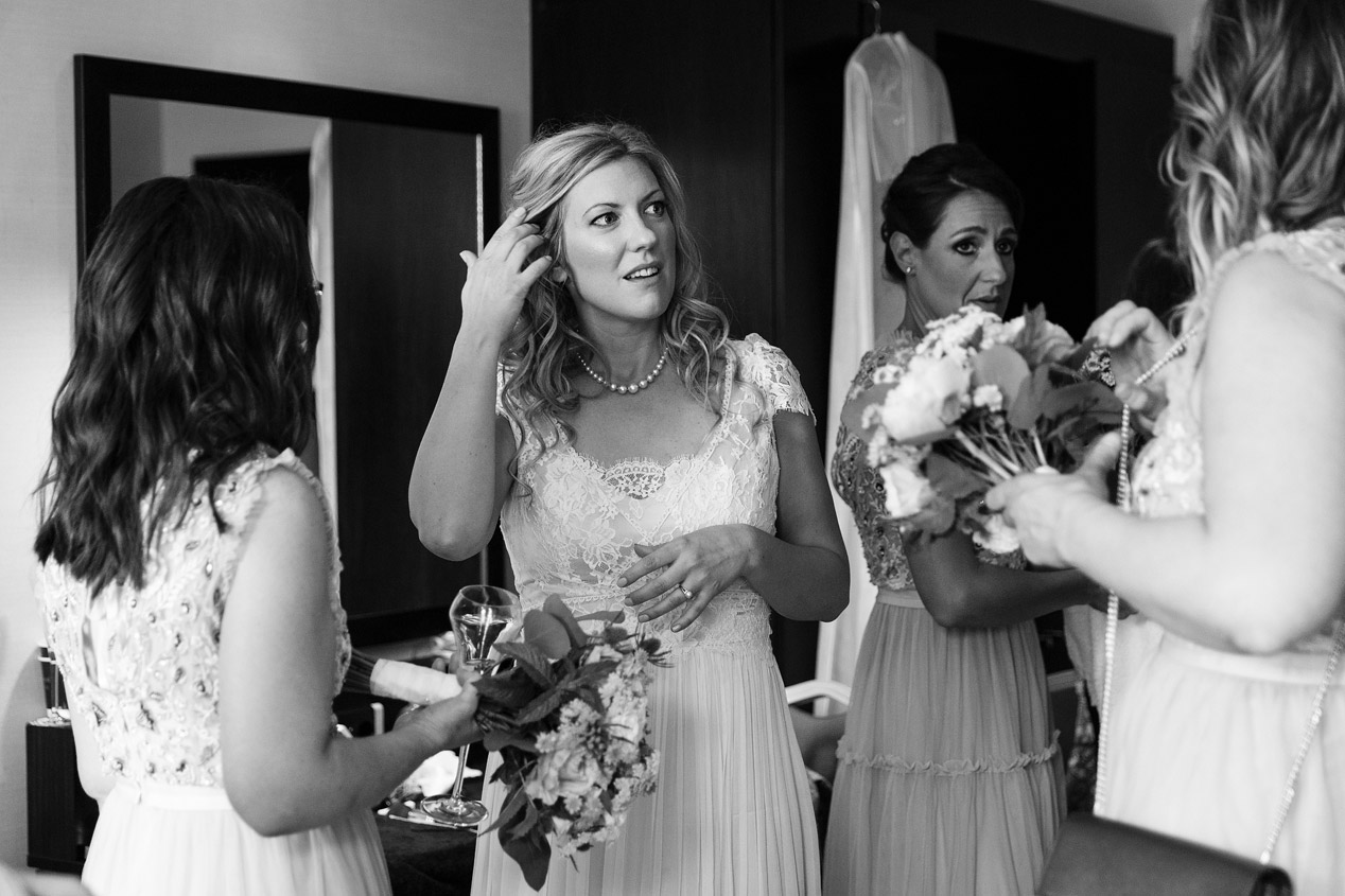 A bride has her make up done at The Montcalm Moorgate before her wedding ceremony at The Brewery.
