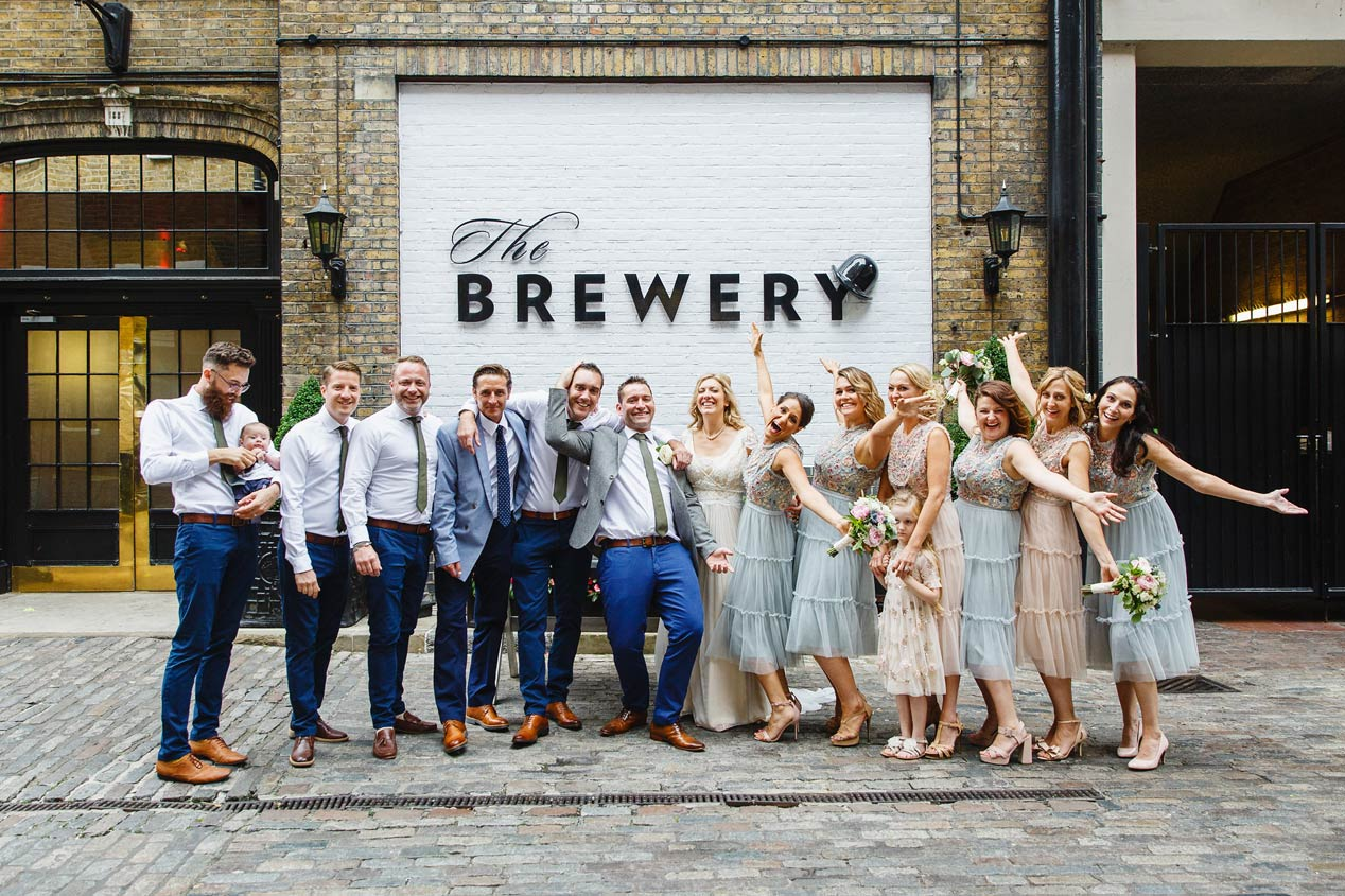 Wedding party group shots at a wedding at The Brewery in Moorgate - London wedding photographer.