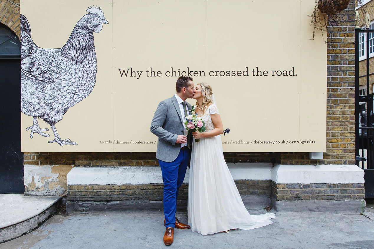 Wedding portraits outside The Brewery Moorgate