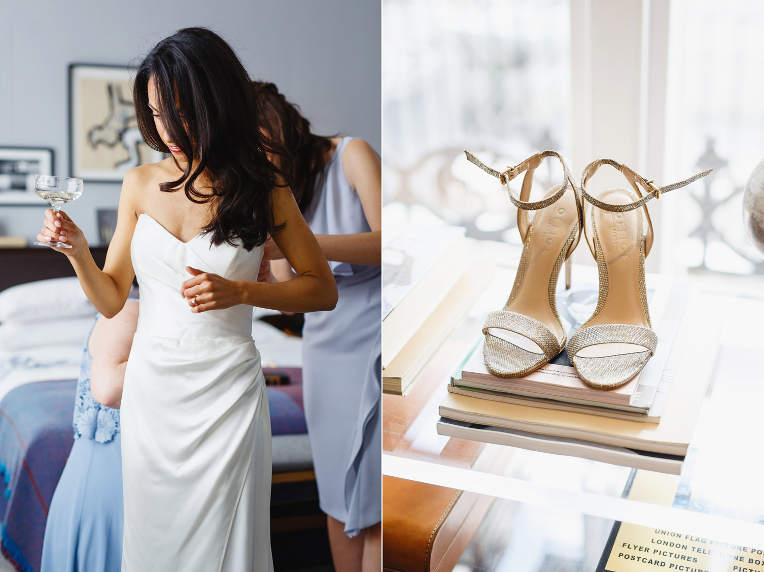 A bride puts on her wedding dress at The Laslett Hotel in London - wedding photographer