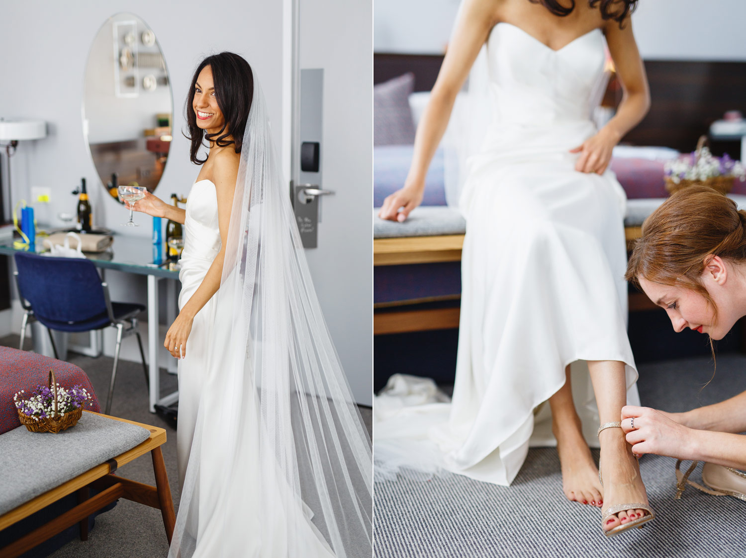 A bride puts on her wedding shoes at The Laslett Hotel in London - wedding photographer