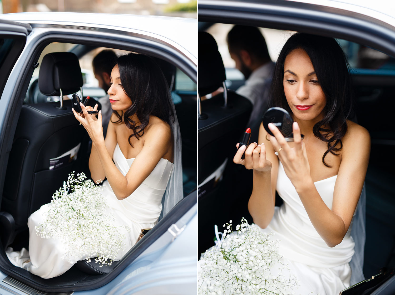 A bride re-applies her lipstick outside Burgh House Museum in Hampstead, London - wedding photographer