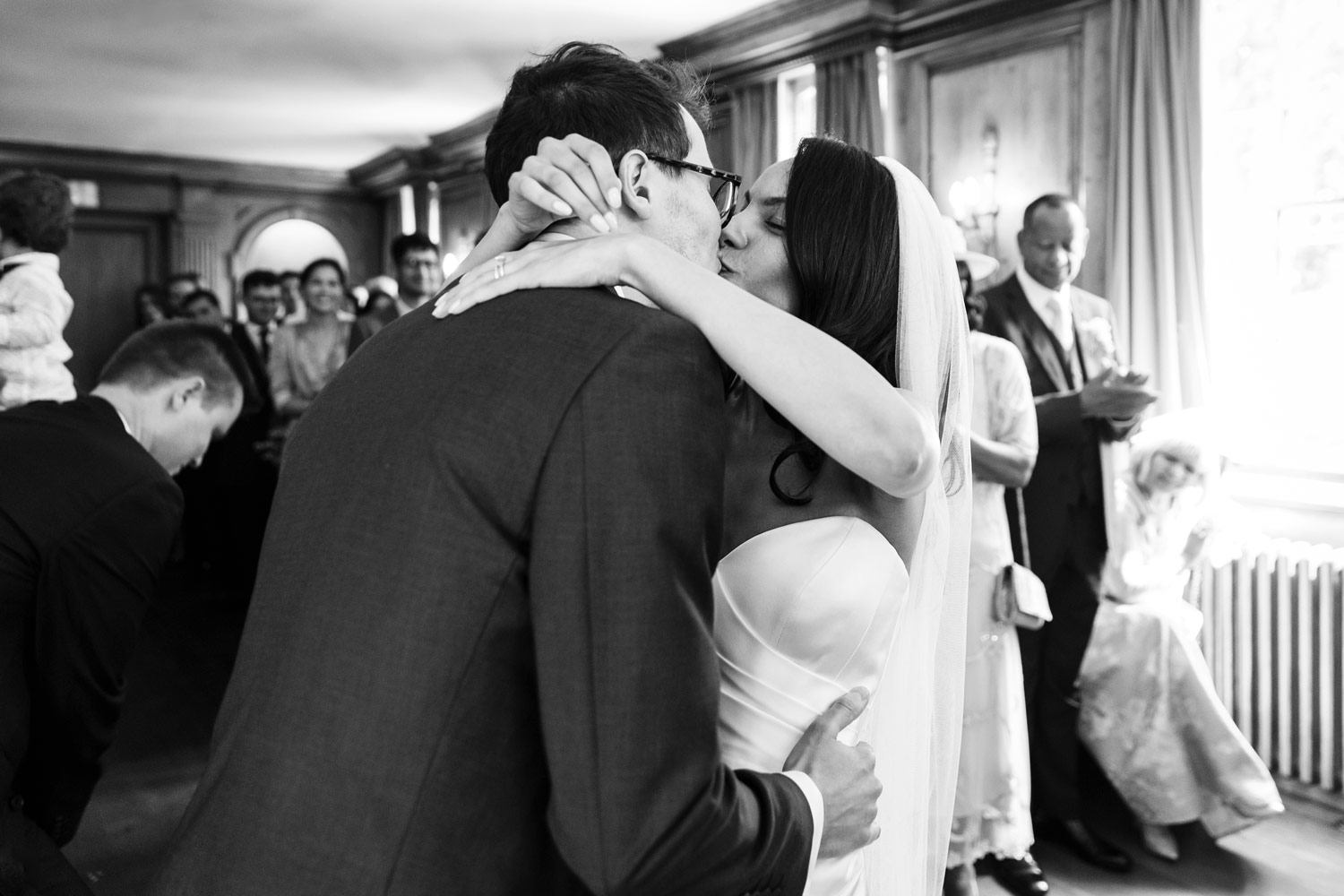 A wedding ceremony kiss at Burgh House Museum in Hampstead, London - wedding photographer