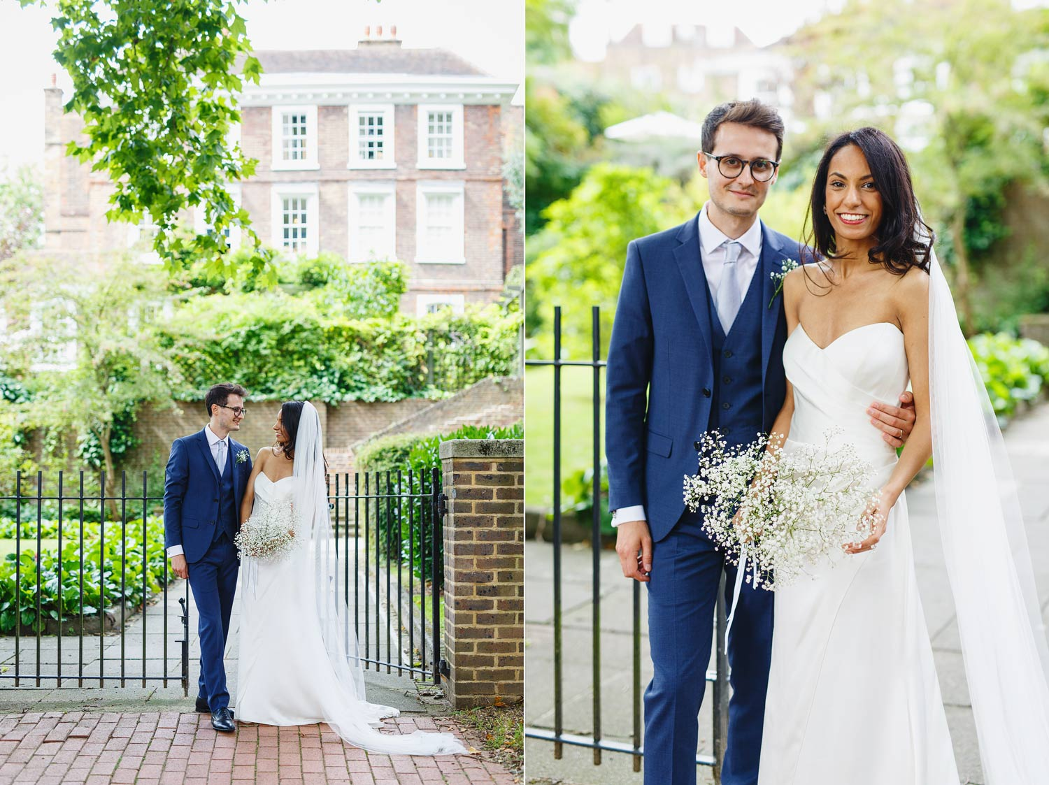 A newly married couple pose at Burgh House Museum in Hampstead, London - wedding photographer