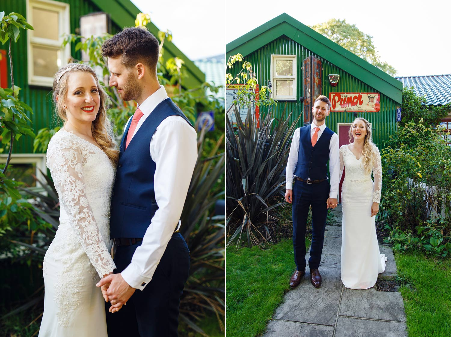 A couple pose for pictures on Eel Pie Island after their wedding ceremony at York House in Twickenham, London.
