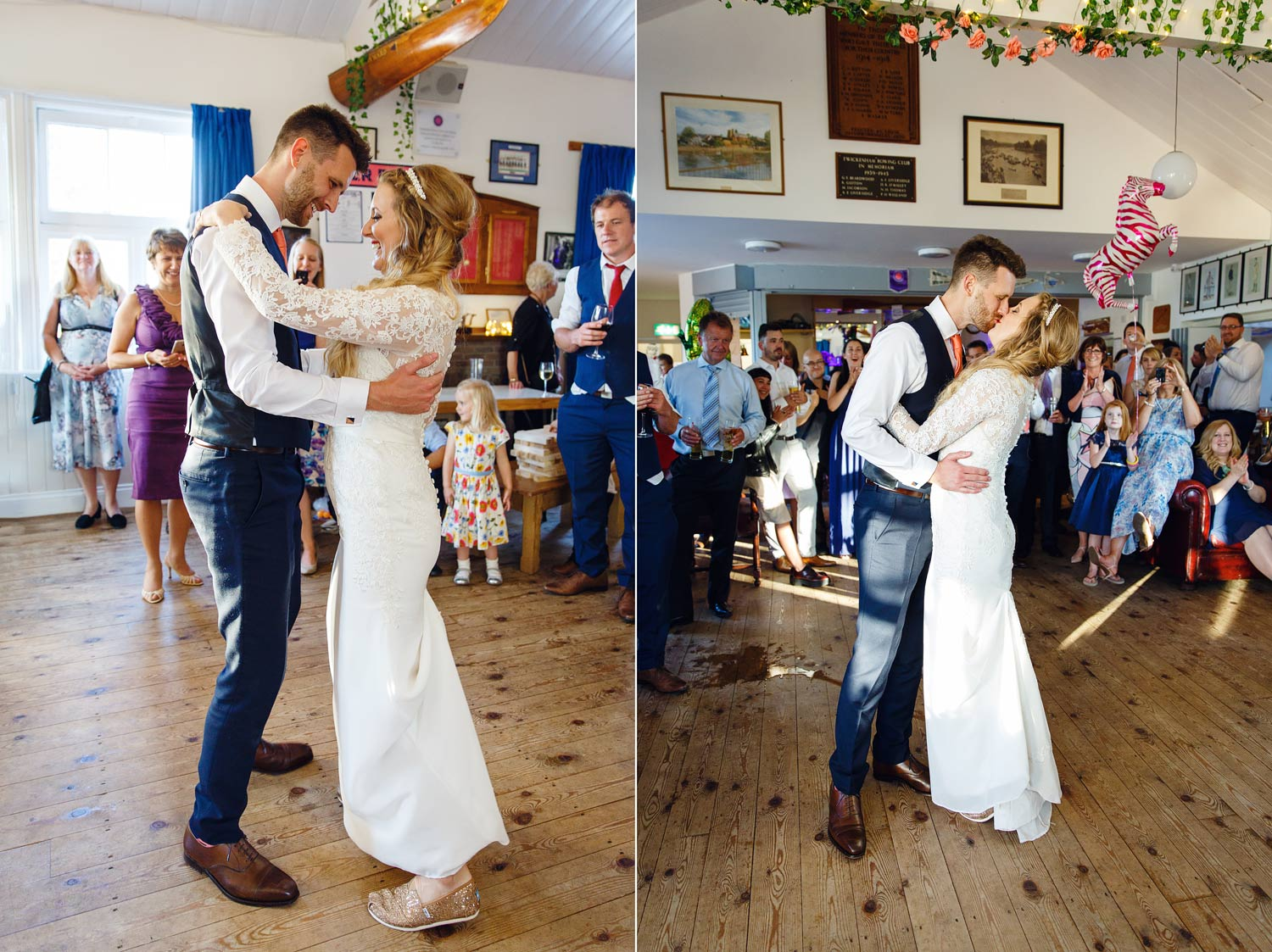 A couple dance their first dance at Twickenham Rowing Club, London.